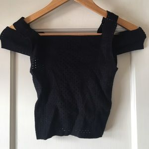Mesh-Style Crop Top with Off-the-Shoulder Accents
